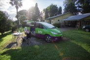 You can see her house behind our van. The set up was pretty slick!
